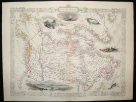 British America, Canada: 1852 Antique Map. Decorative. Tallis Rapkin